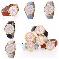 Wholesale eco watches for sale - Unicorn waterproof belt watch men women quartz jewelry student couple watch kids gift children leather watch Novelty Items GGA782
