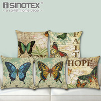 Wholesale butterfly seat covers for sale - Cotton Linen Throw Pillow Case Cushion Cover Butterfly Pattern Seat Car Home Sofa Bed Decorative Pillowcase Christmas Gift