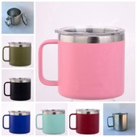 Wholesale Insulated Briefs - 7 Colors 14oz Kid Milk Cup Stainless Steel Cup With Lid Double Wall Vacuum Insulated Mugs Metal Wine Glass GGA274 40pcs