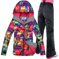 GSOU SNOW Brand Women Jacket Pant Ski Suit Snowboard Skiing Windproof  Waterproof Outdoor Sport Wear Thermal Female Clothing Set 55afe3af6