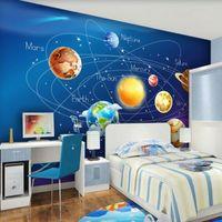 faser fotopapier großhandel-Benutzerdefinierte Wandbild Tapete 3D Cartoon Planeten Sonnensystem Fototapete Kinderzimmer Schlafzimmer Wandmalerei Wohnzimmer Wand Papier