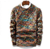 пуловер мужская трикотажная оптовых-JIN JUE LES свитер мужчины 2018 Марка мода пуловер свитер мужской O-образным вырезом полоса Slim Fit вязание Мужские свитера человек пуловер мужчины