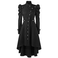 trenchcoat kragen bis großhandel-Gamiss Frauen Winter Puff Shoulder Button Up Dip Saum Trenchcoat New Fashion Stehkragen Hohe Taille Oberbekleidung Gothic Coat D1892905