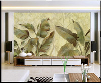 Wholesale kitchen oil proof wallpapers - 3d desktop wallpaper wallpapers for living room Oil painting hand-painted banana leaf TV background wall decorative painting