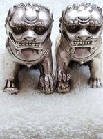 Wholesale metal lion statue - Chinese old Tibetan silver carved pair foo dog lion statue