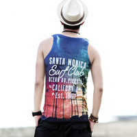 Discount tank men beach Printed Men's Casual Vest Sleeveless T Shirt Comfortable Summer Beach Tank Top Men Cotton Tops Summer Size 2XL