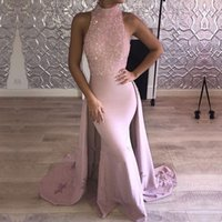Wholesale nude sparkly dresses - Pink 2018 Arabic Dubai Evening Dresses With Train Jewel Neck Beaded Crystal Satin Evening Dresses Sparkly Backless Long Prom Party Dresses