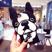 3d köpek kılıfları toptan satış-3D Köpek Fransız Bulldog yumuşak Silikon Kılıf kapak iphone 7 8 Artı 6 6 s Artı X inci zinciri Çapa Funda olmadan