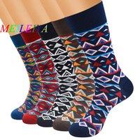 harajuku yüksek çoraplar toptan satış-MEI LEI YA 1 Pairs Rahat Renkli Mutlu Çorap Yüksek Kalite Harajuku Tarzı Sanat Çorap Erkekler Pamuk Sıcak Eğilim