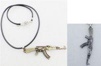 armas de fuego cruzado al por mayor-Aleación de metal Juego Caliente JS Cross Fire Weapon AK47 Pistola Colgante Collar Hombres Joyería Con Cuerda Negra