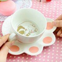 platten porzellan großhandel-Porzellan 150 ml Nette Katze Cartoon Becher Set Kreative Milch Frühstück Tasse Keramik Tassen Und Teller Kaffeetasse Hitzebeständige Tasse Geschenk