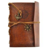 nota del cuaderno al por mayor-libros de diario de viaje de jardín vintage papeles kraft diario cuaderno espiral cuadernos de piratas libros clásicos de estudiante de escuela barata