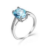frauen blauen topas ehering großhandel-Luckyshine Modeschmuck Frauen Ringe 12 Pcs Lot Oval Blue Topaz Gems Silber Ringe, Hochzeit Engagement CZ Ringe