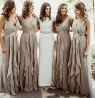 Wholesale Royal Groups - 2018 Chiffon Country Long Bridesmaid Dresses V Neck Pleated Floor Length Beach Wedding Party Guest Dress Maid Of Honor Group Dress BA7861