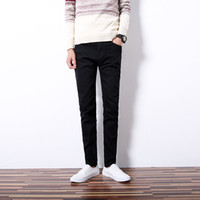 Wholesale stylish stretch pants - 2018 New Men Casual Jeans Pencil Pants Stylish Designed Straight Slim Fit Trousers Small Stretch Denim Pant 27-36
