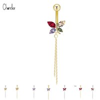 2017 Multi-Colored Crystal Butterfly Navel Belly Button Anel Long Dangle Tassels Stainless Steel Piercing Body Jewelry For Women