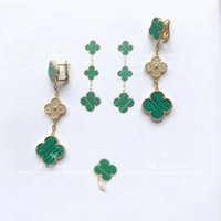 Wholesale bracelet designs for ladies for sale - High version Three Four Leaf Flower earrings for lady Design Women Party Wedding Luxury Jewelry Genuine Bracelet button with box
