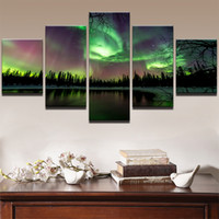 ingrosso pittura ad olio paesaggio verde-Wall Art Poster Canvas For Living Room Picture 5 Panel Green Forest Aurora Landscape Modern Oil Painting Senza cornice