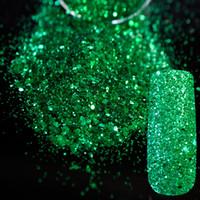 suministros de arte de uñas brillo al por mayor-Al por mayor-Shining Green Sequins Dust DIY Nail Art Glitter Gem Nail Designs Suministros Acrílico UV Mix Tamaño Glitter Powder 284