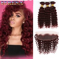 Wholesale 99j curly weave for sale - 99J Ombre Deep Wave Human Hair Virgin Deep Curly Bundles With Ear to Ear x4 Frontal Burgundy Ombre Malaysian Hair Weave Extensions