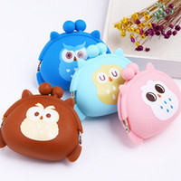 Wholesale Cute Wallets For Girls - Kawaii Owl Wallet Silicone Small Pouch Cute Coin Purse for Girl Key Rubber Wallet Children Mini Animal Storage Bag X'mas gifts