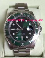 зеленая рамка автоматическая оптовых-Роскошные часы из нержавеющей стали браслет новый 116610 Керамический зеленый безель новый стиль белая карта 40 мм механические автоматические мужские наручные часы