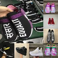 Wholesale Red Checkered Shoe Laces - 2018 new big size NMD HU Human Race trail Running Shoes Men Women Pharrell Williams Holi Blank Canvas trainers sports shoes size 36-47