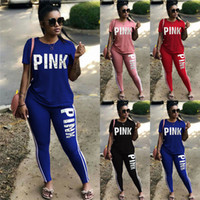 Wholesale wholesale pink long sleeve shirts - Women Clothing Pink Letter Tracksuit Short Sleeve T-Shirt +Bodycon Long Pant 2pcs set Outift Sportswear Summer Fitness Suit