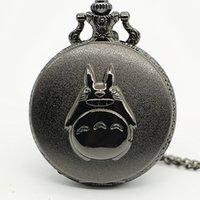 anime taschenuhren großhandel-Vintage japanische Anime Totoro Taschenuhr mit Anhänger Halskette Männer Frauen Geschenke Uhr