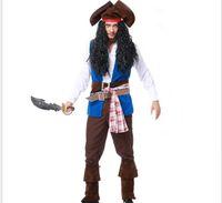 ingrosso costume del pirata del film-Vocole Deluxe Man Caribbean Pirates Capitan Skulduggery Costume Movie Captain Jack Cosplay Halloween Fantasia Fancy Dress PS062