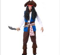 jack kostüme großhandel-Vocole Deluxe Man Karibik Piraten Captain Skulduggery Kostüm Film Captain Jack Cosplay Halloween Fantasie Kostüm PS062
