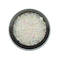 pérolas unhas acrílicas venda por atacado-1 Pot Mix Pequeno Vidro Strass Bola Caviar Beads Transparente Faux Pearl AB Cor 3D Salon Acrílico Nail Art Manicure DIY Decoração