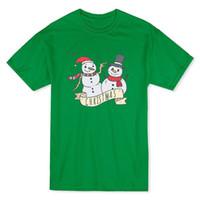banners gráficos al por mayor-Camiseta navideña Snowmans Graphic para hombre en color verde de Kelly