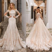 Wholesale champagne long sleeves mermaid lace for sale - Group buy 2019 Overskirts Mermaid Wedding Dresses Champagne Detachable Train Long Sleeves Off Shoulder Middle East Full Lace Plus Size Bridal Gowns