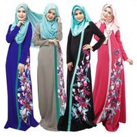 islamische kleidung jilbab abaya großhandel-Muslimischen Frauen Abaya Kleid Oansatz Langarm Bodenlangen Lose Gedruckt Islamischer Jilbab Hijab Kaftan Womens Ethnische Kleidung DK726MZ