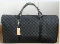 Wholesale leather travel bag online - Keepall Travel Luggage Bag Damier Graphite PU Leather Handbag Men Travel Bags Mens Travel Totes Bag Mens Duffle Bag CM