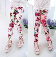 Wholesale Kids Floral Leggings - Spring Baby Kids leggings Children girl floral Leggins fashion baby girls printing flower pants tight toddler leggings