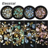 cuentas de formas de resina al por mayor-ELESSICAL Forma Mixta Opal Nail Resin Rhinestones Gems 3D Tip Drill Cobre Nail Charm Beads Espárragos Manicure Nails Art Decorations