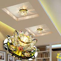 led lotus kristal lamba toptan satış-Dim Kristal LED Tavan Işık 3 W AC90-260V Modern LED Kristal Lamba Koridor Işık Lamba Salon Aydınlatma Kabak Lotus Işıkları led tavan lambası