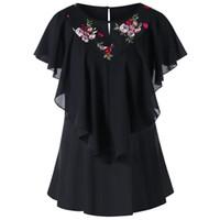 stickerei hülse bluse großhandel-2018 New Fashion Design Frauen Schwarz Rundhalsausschnitt Kurze Schmetterlingshülse Stickerei Floral Mesh Panel Volant Bluse Shirt