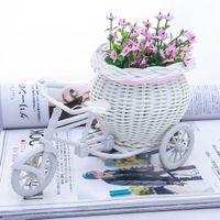 sepet saklama kapları toptan satış-Yeni Beyaz Üç Tekerlekli Bisiklet Tasarım Çiçek Sepeti Depolama Konteyner Için Parti Düğün Doğum Günü Hediyeleri