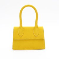 bolsos modası toptan satış-Mat Deri Küçük Kare Çanta Çanta Kadınlar Moda Mini Omuz Çantası Luxe Hanımlar Küçük Eller Çanta Sarı Bolsos