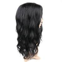 ingrosso capelli corpo media lunghezza media-Parrucca per capelli a media lunghezza Wave Body nero naturale a bassa temperatura Parrucche sintetiche per capelli neri 50cm Oct30
