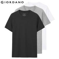 Wholesale Men Undershirt Short Sleeves - Giordano Men T -Shirt Short Sleeves 3 -Pack Undershirt Male Solid Cotton Mens Tee Summer Jersey Brand Clothing Sous Vetement Homme