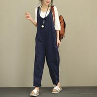 женские хлопчатобумажные комбинезоны оптовых-Summer Cotton Overalls Women Jumpsuit Plus Size Loose Suspenders Harem Pants Women Solid Color Casual Jumpsuit Autumn Clothing