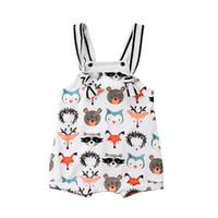 ingrosso modelli di body-Baby Boy Girl senza maniche Pagliaccetto animale Tuta Pinguino Giraffa Fox modello orso Baby Tuta Abbigliamento Abbigliamento bambino Toddler 0-18 M