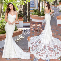 Wholesale long chen - Kitty Chen Mermaid Wedding Dresses Backless Spaghetti Neck Full Lace Applique Bridal Gowns Court Train Cheap Wedding Dress