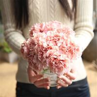 artificial white hydrangeas venda por atacado-Flor Artificial hydrangea Branco Wedding Bouquet Handmade 1 bouquets 5 cabeças de Noiva Bouquet para Decoração de Casamento 2018