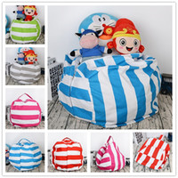 Wholesale stuffed toy clothes for sale - Group buy 17 inch Kids Storage Bean Bags Plush Toys stripe canvas Beanbag Chair Bedroom Stuffed buggy bag Portable Clothes Organizer Bags pocket hot