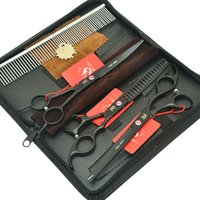 corte de acero al por mayor-7.0 Pulgadas Meisha Pet Grooming Tijeras Set de Acero Inoxidable Sharp Cutting Thinning Tijeras Perros Gatos Pelo Belleza Clipper Accesorios Para Mascotas HB0157